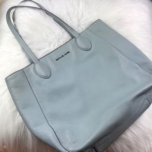 Michael Kors blue leather & silver shoulder bag